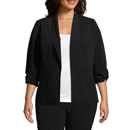 Worthington ¾ Cinch Sleeve Blazer-Plus, 5x , Black