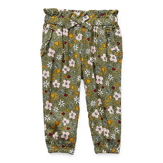 Okie Dokie Baby Girls Mid Rise Cinched Pull-On Pants