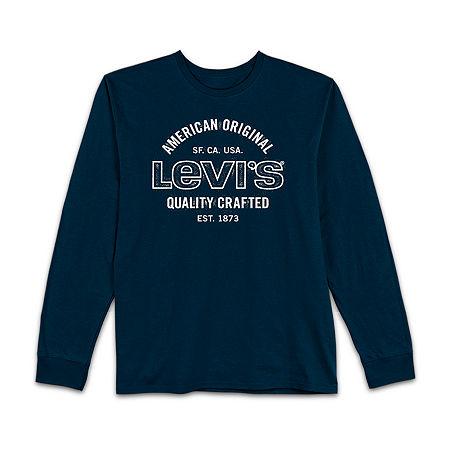 Levi's Mens Crew Neck Long Sleeve T-Shirt, Small , Blue