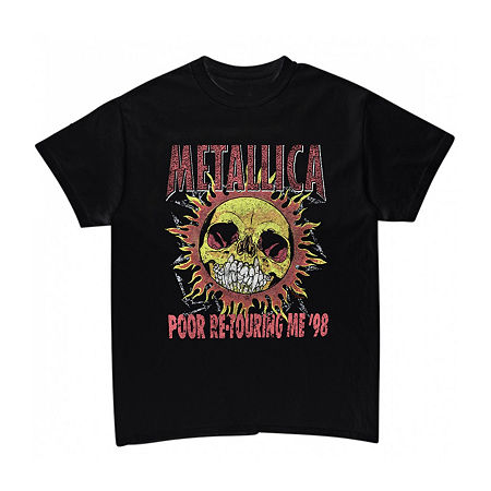 Metallica Flaming Sun Mens Crew Neck Short Sleeve Music Graphic T-Shirt, Small , Black