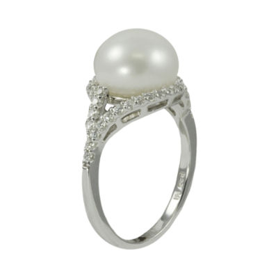Cultured Freshwater Pearl & Lab-Created Sapphire Ring