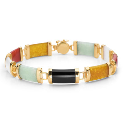 Multi-Color Jade Bracelet 14K/Sterling Silver