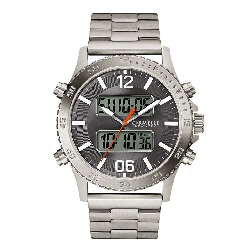 Caravelle New York Mens Silver Tone Bracelet Watch-43b141