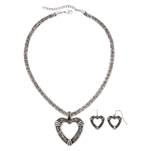 Mixit™ Simulated Marcasite Heart Pendant Necklace & Earring Set