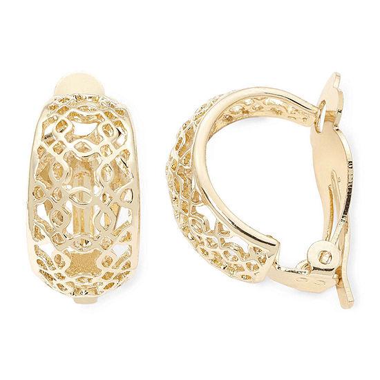 Liz Claiborne Gold-Tone Clip-On Hoop Earrings