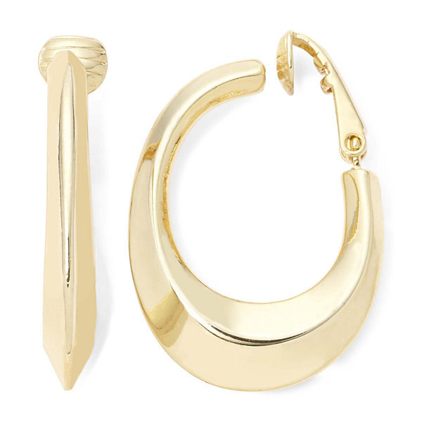 Liz Claiborne Gold-Tone Clip-On Hoop Earrings