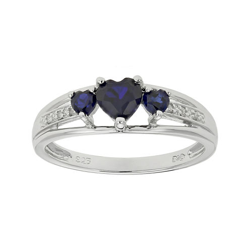 Lab-Created Sapphire Heart-Shaped 3-Stone Sterling Silver Ring