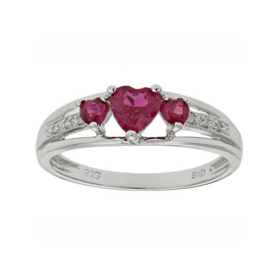 Lab-Created Ruby & Diamond-Accent Heart-Shaped 3-Stone Sterling Silver Ring
