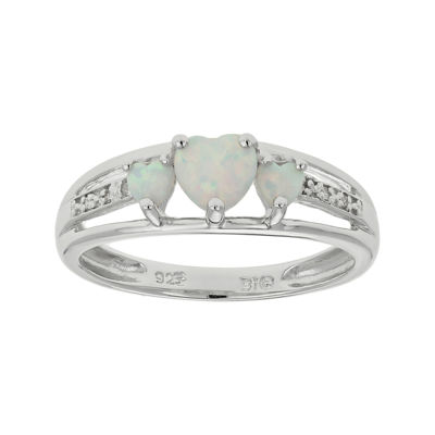 Lab-Created Opal & Diamond-Accent Heart-Shaped 3-Stone Sterling Silver Ring