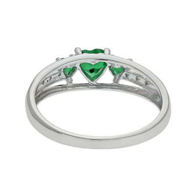 Lab-Created Emerald & Diamond-Accent Heart-Shaped 3-Stone Sterling Silver Ring