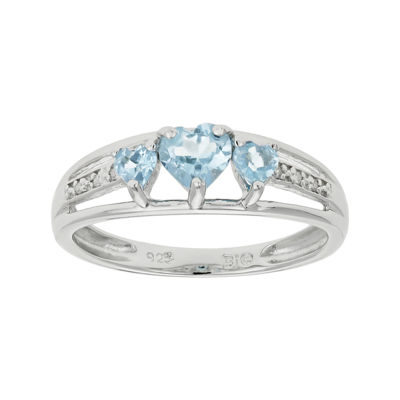 Simulated Aquamarine Heart-Shaped 3-Stone Sterling Silver Ring