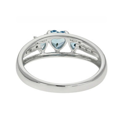 Genuine Blue Topaz & Diamond-Accent Heart-Shaped 3-Stone Sterling Silver Ring