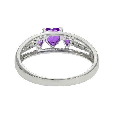 Genuine Amethyst Heart-Shaped 3-Stone Sterling Silver Ring
