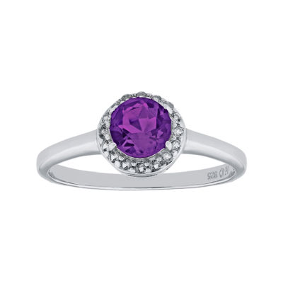 Faceted Genuine Amethyst & White Topaz Sterling Silver Ring