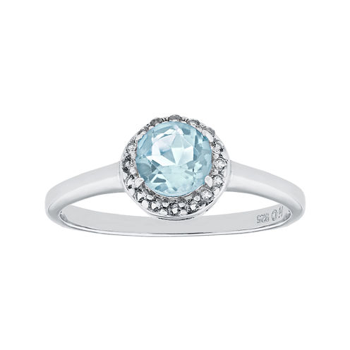 Faceted Lab-Created Aquamarine & White Topaz Sterling Silver Ring
