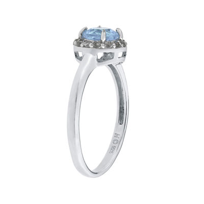 Simulated Aquamarine & White Topaz Sterling Silver Ring