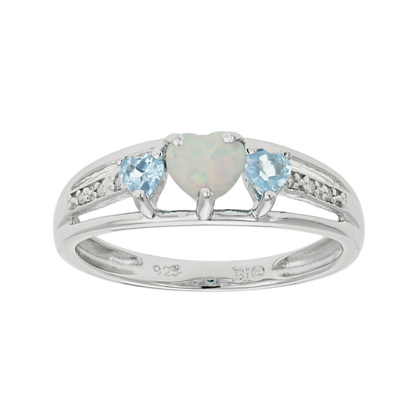 Lab-Created Opal & Genuine Blue Topaz Heart-Shaped Sterling Silver Ring