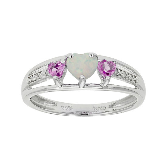Lab-Created Opal & Pink Sapphire Heart-Shaped Sterling Silver Ring