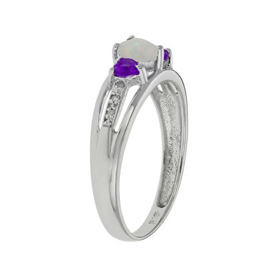 Lab-Created Opal & Genuine Amethyst Heart-Shaped Sterling Silver Ring