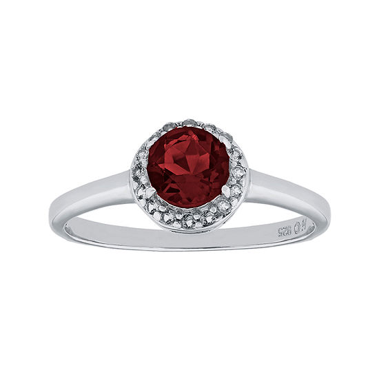 Faceted Genuine Garnet & White Topaz Sterling Silver Ring