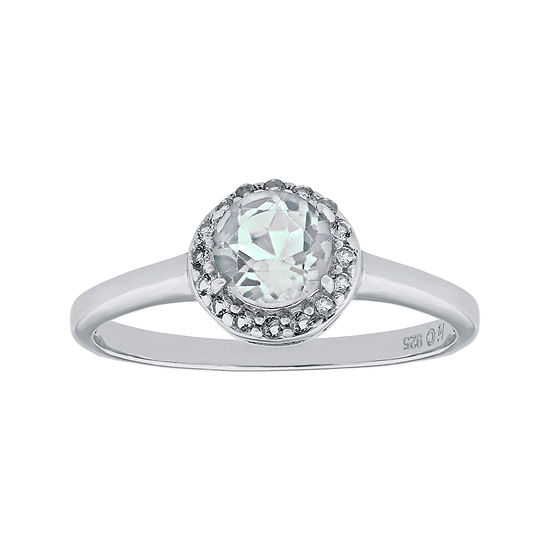 Faceted Genuine White Topaz Sterling Silver Ring