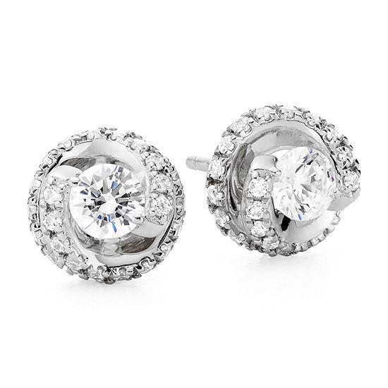 1 Ct Tw Diamond Spiral 10k White Gold Stud Earrings