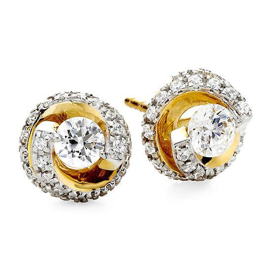 1 CT. T.W. Diamond Spiral 10K Yellow Gold Stud Earrings