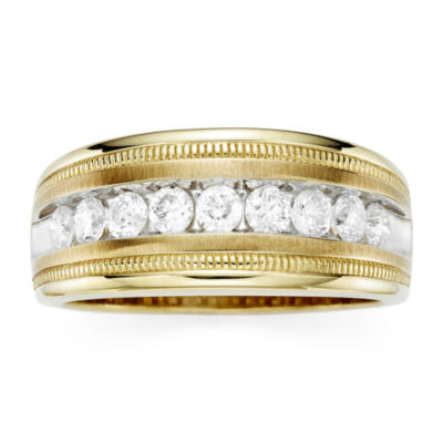 Mens 1 CT. T.W. Diamond 10K Yellow Gold Milgrain Ring