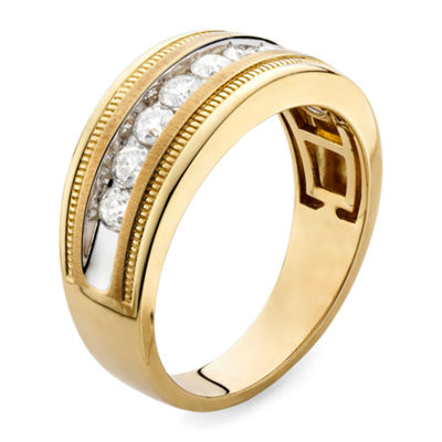 Mens 1 CT. T.W. Genuine White 10K Gold Wedding Band