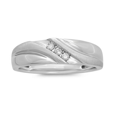 Mens 1/10 CT. T.W. Diamond 10K White Gold 3-Stone Slant Ring