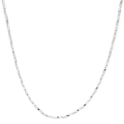 "Made in Italy Sterling Silver 18"" Twisted Square Snake Chain"