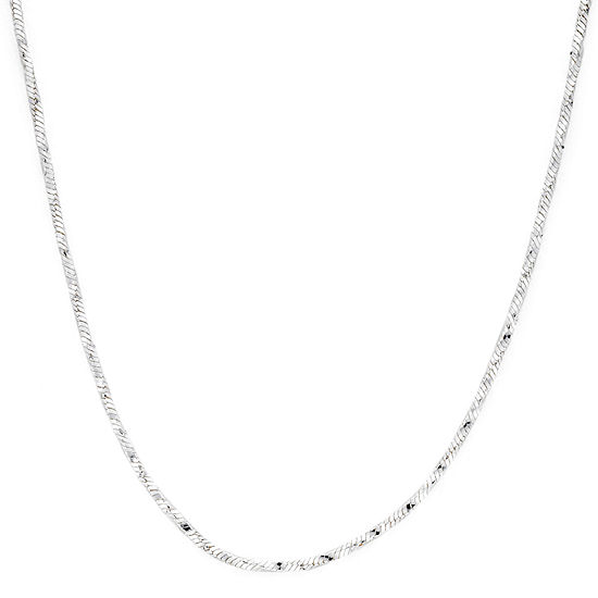 """Made in Italy Sterling Silver 18"""" Twisted Square Snake Chain"""