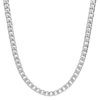 "Made in Italy Sterling Silver 24"" 8-Sided Curb Chain"