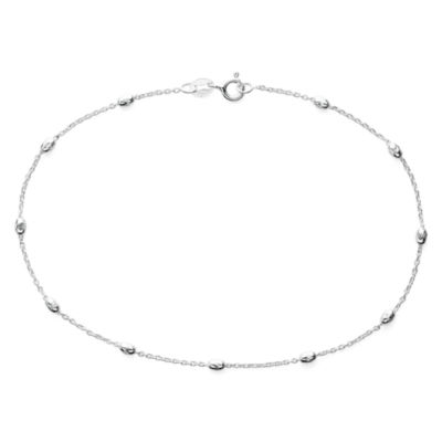"""Made in Italy Sterling Silver 9½"""" Station Link Ankle Bracelet"""