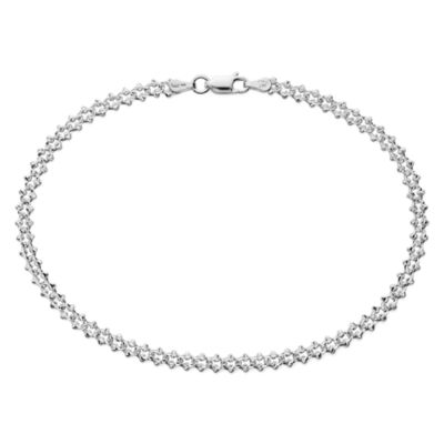 """Made in Italy Sterling Silver 9½"""" Crab Pavé Link Ankle Bracelet"""