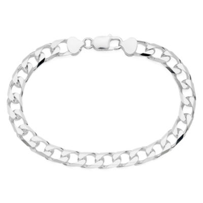 """Made in Italy Mens Sterling Silver 9"""" 8-Sided Curb Link Bracelet"""