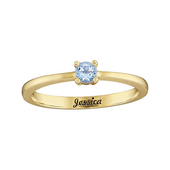 Personalized Girls Round Birthstone Ring