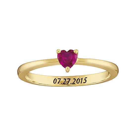 Personalized Girls Heart Birthstone Ring