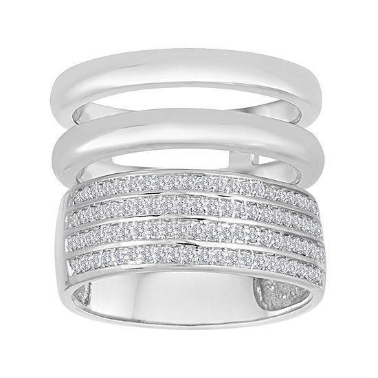 1/3 CT. T.W. Diamond Sterling Silver Multi-Band Ring