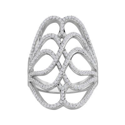 5/8 CT. T.W. Diamond Sterling Open Weave Knuckle Ring