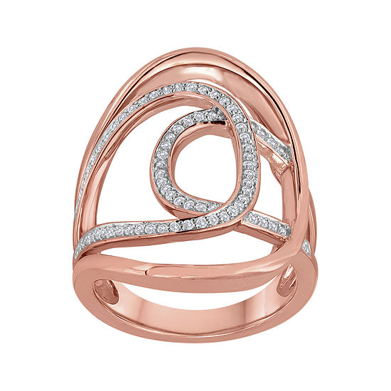 1/3 CT. T.W. Diamond 14K Rose Gold Over Sterling Silver Open Oval Knuckle Ring