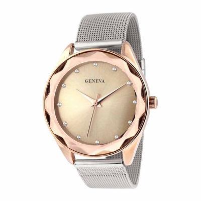 Geneva Womens Silver-Tone and Mesh Bracelet Watch