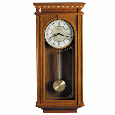 Bulova Manorcourt Golden Oak Finish Wall Clock-C4419