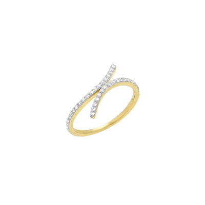 Womens 1/4 CT. T.W. Genuine White Diamond 10K Gold Bypass  Cocktail Ring