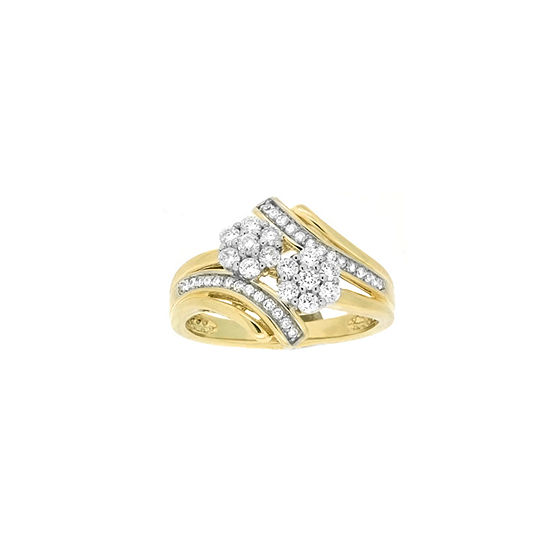 Diamond Blossom Womens Genuine Diamond 10k Gold Cocktail Ring