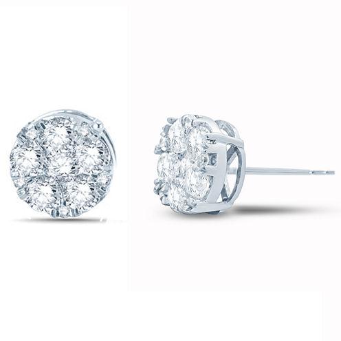 1 CT. T.W. Round White Diamond 10K Gold Stud Earrings