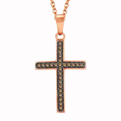 Womens 1/8 CT. T.W. Genuine Champagne Diamond 10K Gold Cross Pendant Necklace