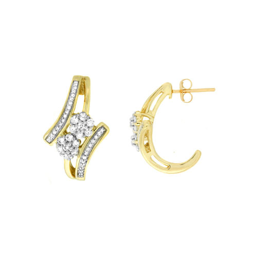 Diamond Blossom 1/2 CT. T.W. White Diamond 10K Gold Drop Earrings