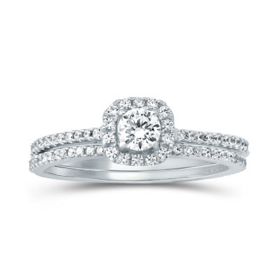 Womens 5/8 CT. T.W. Genuine White Diamond 14K Gold Bridal Set