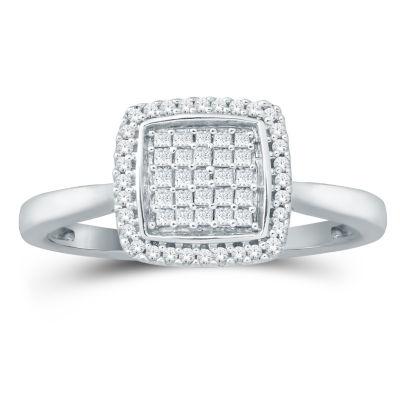 Womens 1/3 CT. T.W. Genuine White Diamond 10K Gold Engagement Ring
